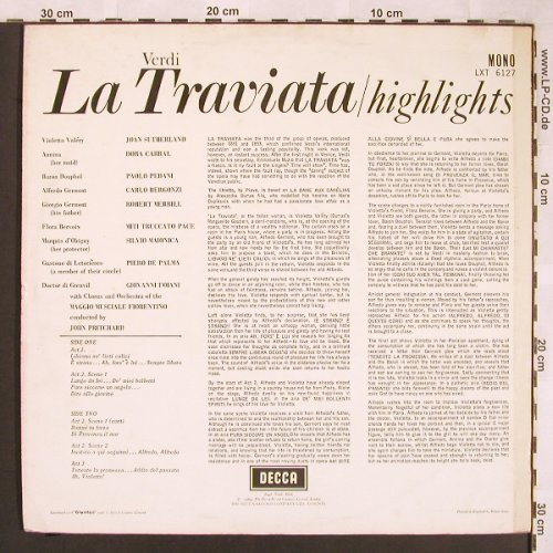 Verdi,Giuseppe: La Traviata-Highlights, m-/vg+, Decca, Sample-Stol(LXT 6127), UK mono, 1964 - LP - L6507 - 5,00 Euro