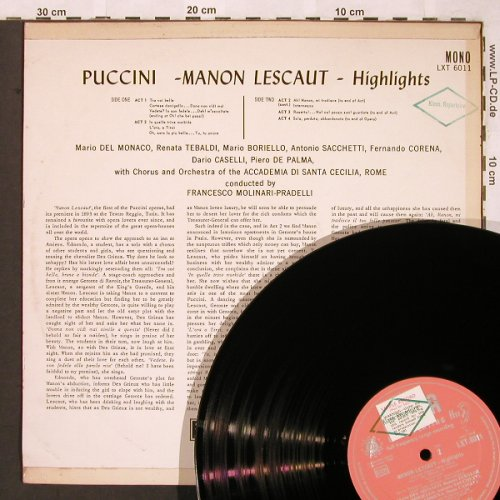 Puccini,Giacomo: Manon Lescaut -Highlights, Decca, Sample-Stol,stoc(LXT 6011), UK mono,  - LP - L6508 - 6,00 Euro