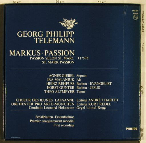 Telemann,Georg Philipp: Markus-Passion, Box, Philips(6768 027), NL,  - 2LP - L6536 - 9,00 Euro