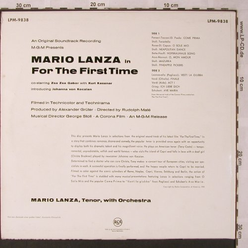 Lanza,Mario: For The First Time - Soundtrack, RCA(LPM-9838), D, 1958 - LP - L6833 - 7,50 Euro
