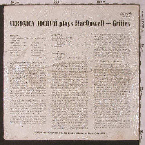 Jochum,Veronika: plays comp.of E.A.MacDowell,Griffes, Golden Crest(CRS 4168), US,FS-New, 1977 - LP - L6874 - 9,00 Euro