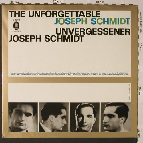 Schmidt,Joseph: The Unforgettable, Odeon(O 80 718), D,  - LP - L7134 - 6,00 Euro