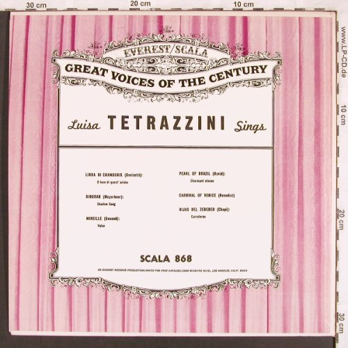 Cortis,Antonio / Luisa Tetrazzini: sings-Great Voice of the Century, Everest/Scala(SCALA 868), US,  - LP - L7197 - 7,50 Euro