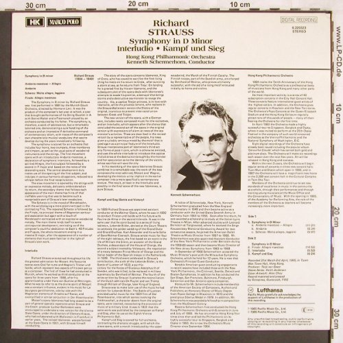 Strauss,Richard: Symphony in D Minor, vg+/m-, HK Marco Polo(6.220323), D, 1985 - LP - L7276 - 5,00 Euro