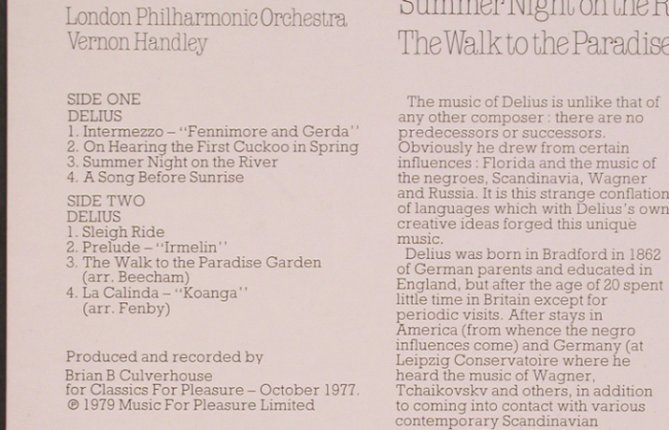 Delius,Frederick: Orchestral Works, Classics for Pleasure(CFP 40304), UK, 1979 - LP - L7380 - 6,00 Euro