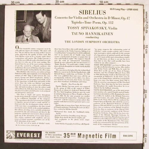 Sibelius,Jean: Concerto in d-minor, op.47,violin&O, Everest Records(LPBR 6045), US,  - LP - L7422 - 12,50 Euro