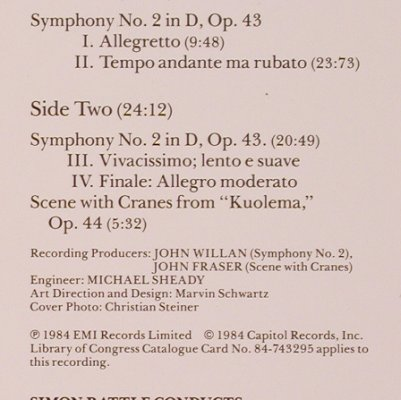 Sibelius,Jean: Symphony No.2 in d, op.43, EMI(DS-38169), , co, 1984 - LP - L7438 - 5,00 Euro