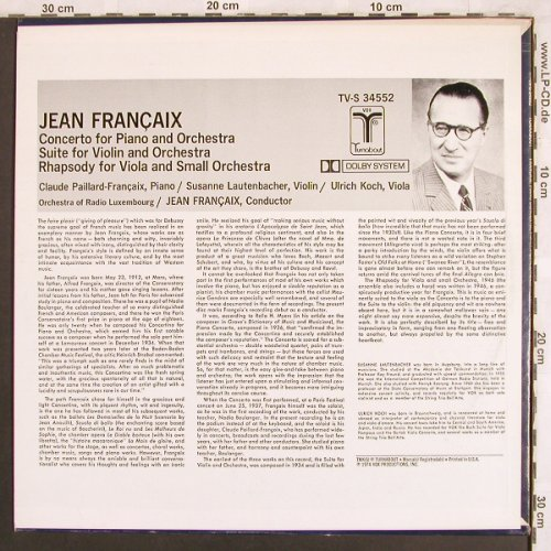 Francaix,Jean: Concerto for Piano and Orchestra, Turnabout Vox(TV-S 34552), US, 1974 - LP - L7698 - 14,00 Euro