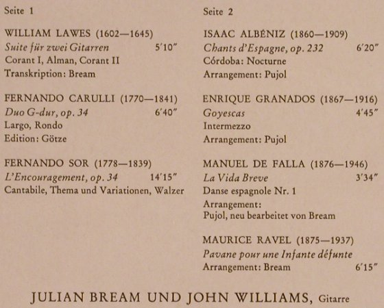 Bream,Julian & John Williams: Same, William Lawes...Ravel, RCA(26.41118), D, 1972 - LP - L7786 - 6,00 Euro