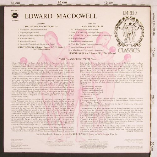 MacDowell,Edward: Second Modern Suite,op.14,8 Sea..., Ember Classics(ECL 9045), UK, m-/vg+, 1975 - LP - L7806 - 9,00 Euro