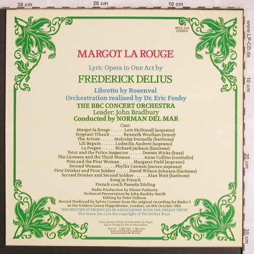 Delius,Frederick: Margot la Rouge, in french, BBC(REGL 458), UK,vg+/m-, 1982 - LP - L7828 - 5,00 Euro