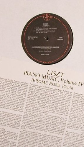Liszt,Franz: Piano Music Vol.IV, Box, VoxBox(SVBX 5475), US, 1974 - 3LP - L7999 - 9,00 Euro