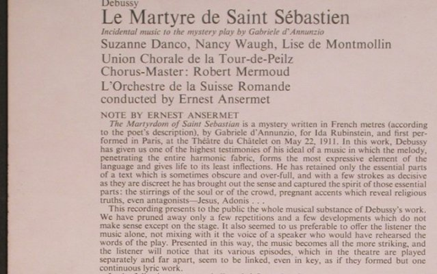 Debussy,Claude: Le Martyre de Saint Sebastien, Ace of Diamonds(SDD 314), UK, 1972 - LP - L8146 - 6,00 Euro