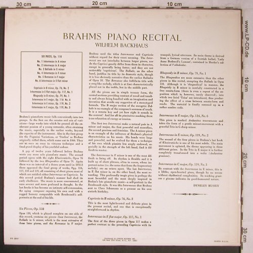 Brahms,Johannes: Piano Music-op.118, 76, 117, London FFrr(STS  15047), UK/US,  - LP - L8472 - 7,50 Euro