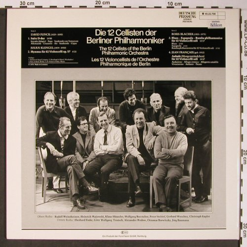 12 Cellisten der Berliner Philharmh: David Funk,Klengel,Blacher,Francaix, Acanta(40.22.798), D, Foc, 1976 - LP - L8639 - 9,00 Euro