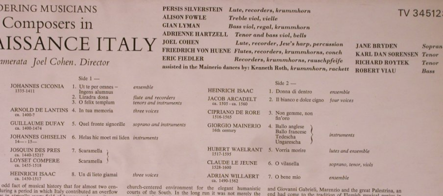 V.A.Flemish Composers in: Renaissance Italy, Turnabout us(TV 34512S), US, 1974 - LP - L8853 - 5,00 Euro