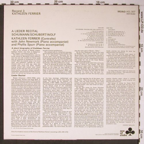 Ferrier,Kathleen: A Lieder Recital, m-/vg+, Ace Of Clubs 3(), UK,  - LP - L8870 - 6,00 Euro