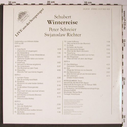 Schubert,Franz: Winterreise, Foc,Live Semperoper, Eterna(8 27 922-923), DDR, 1985 - 2LP - L8894 - 12,50 Euro
