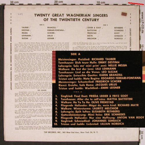 V.A.Twenty Great Wagnerian Singers: of the 20thCentury, m-/vg+, TAP(T-322), US, woc,  - LP - L9181 - 9,00 Euro