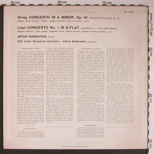 Grieg,Edvard / Liszt: Concerto in A minor,op.16/Conc.No.1, RCA Red Seal(LSC-2429), I,  - LP - L9195 - 7,50 Euro