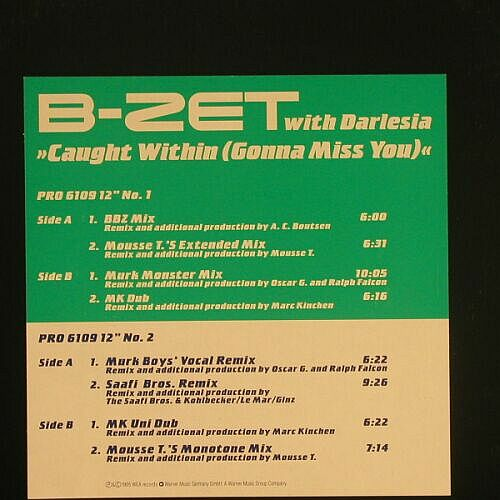 "B-ZET with Darlesia: Cought Within(Gonna Miss You),8Tr., EYE Q(Pro 6109), D,Promo, 95 - 12""*2 - A7577 - 6,00 Euro"