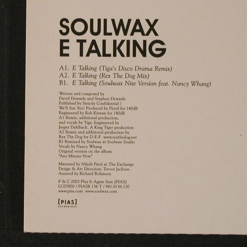 Soulwax: E-Talking  *3, Play It Again Sam(PIASB 136T), , 2005 - 12inch - F2177 - 7,50 Euro