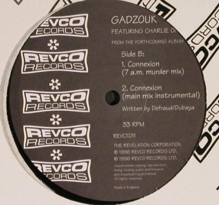 Gadzouk: Connexion*4, f.Charlie One (D&B), Revco(REVCT011), UK, 1996 - 12inch - H6442 - 3,00 Euro