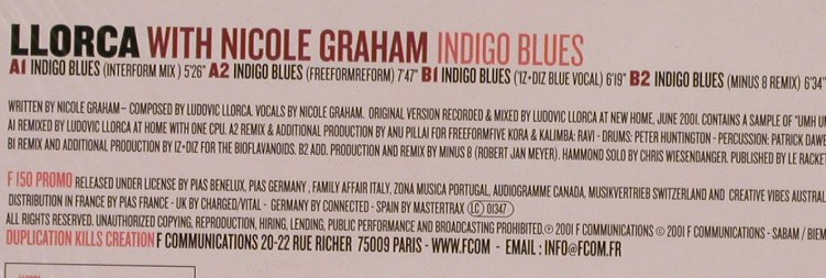 Llorca with Nicole Graham: Indigo Blues*4,Promo, F Communications(F 150), D, 2001 - 12inch - X80 - 4,00 Euro