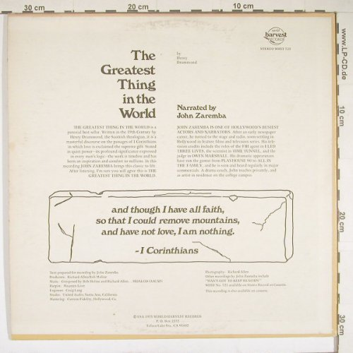 Drummond,Henry - narr.by J.Zaremba: The Greatest thing in the World, W.Harvest(WHST725), us, vg+/m-, 86 - LP - B1444 - 4,00 Euro