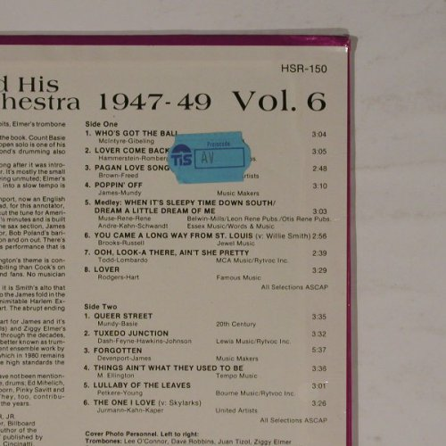 James,Harry & Orch.: 1947-1947 Vol.6, FS-New, Hindsight(HSR-150), US, 80 - LP - B5807 - 7,50 Euro