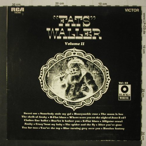 Waller,Fats: Volume II (Black & White Vol.22), RCA(730.660), F,  - LP - C7083 - 6,00 Euro