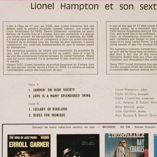 Hampton,Lionel: The Great - et son sextette, Musidisc(30 CV 1064), F,  - LP - E1054 - 6,50 Euro