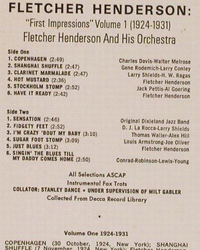 Henderson,Fletcher: First Impressions Vol.1(1924-31), MCA(COPS 3450), D,  - LP - E1372 - 6,00 Euro