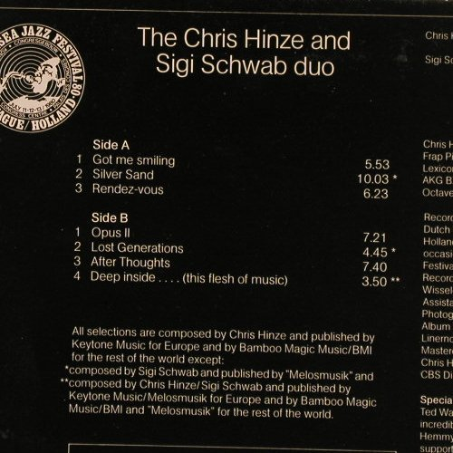 Hinze,Chris & Sigi Schwab Duo: Live At Northsea Jazz Festival,Foc, Keytone(KYT 705), NL,m-/vg+, 1980 - LP - E4089 - 3,00 Euro