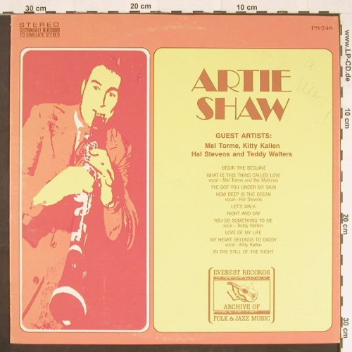 Shaw,Artie: Archive of Folk & Jazz Music, Everest Rec(FS-248), US,  - LP - E430 - 5,50 Euro