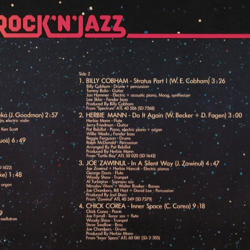 V.A.Rock'n'Jazz: A Fusion, 9Tr. wh.Muster, Atl.(ATL 20 089), D, 1975 - LP - E4721 - 7,50 Euro