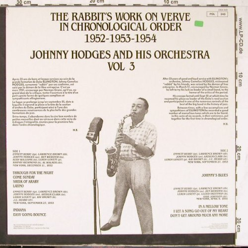 Hodges,Johnny & His Orch.: Vol.3-Rabbit's Work 1952-53-54, Verve(2304 449), F Ri,Ri,  - LP - E4724 - 6,00 Euro