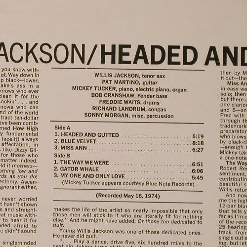Jackson,Willis: Headed and Gutted, Muse Records(MUSE 5048), US, 1974 - LP - F1137 - 12,50 Euro