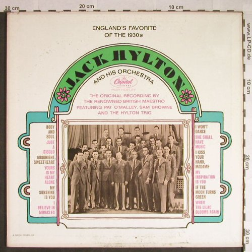 Hylton,Jack  and his Orchestra: England's Favorite of the 1930s,Foc, Capitol(TAO 10323), US,m-/vg+,  - LP - H153 - 7,50 Euro