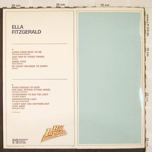 Fitzgerald,Ella: Hit Parade International, Booklet, Armando Curcio(HP-11), I,Ri, Foc,  - LP - H3292 - 5,50 Euro
