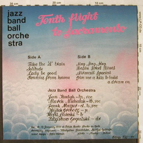 Jazz Band Ball Orchestra: Tenth flight to Sacramento-Sing,Sin, Poljazz(PSJ 197), PL, 1988 - LP - H3519 - 7,50 Euro