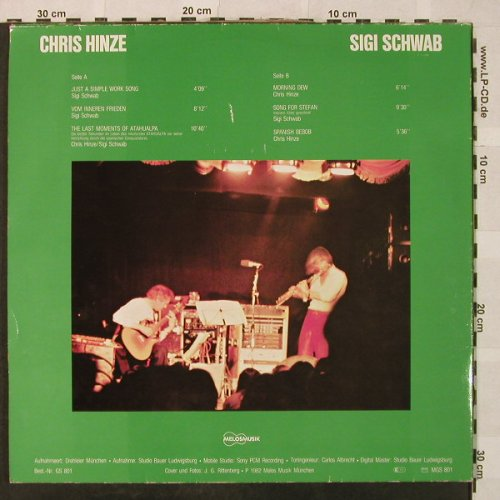 Hinze,Chris & Sigi Schwab: Backstage, Foc, vg+/vg+,bad cond., Melosmusik(GS 801), D, 1982 - LP - H5029 - 3,00 Euro