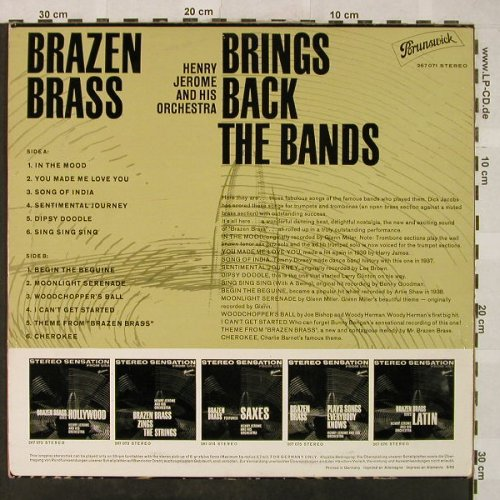Jerome,Henry & His Orchestra: Brazen Brass-Brings Back The Bands, Brunswick(267 071), D, vg+/m-, 1962 - LP - H5087 - 7,50 Euro