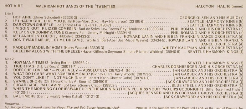 V.A.American Hot Bands of the: Twenties, George Olsen...J.Crawford, Halcyon(Hal 16), UK,vg+/vg+,  - LP - H6212 - 4,00 Euro