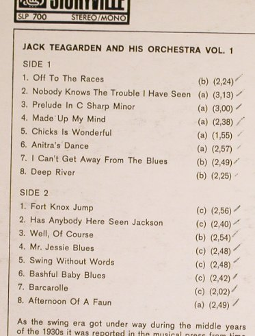 Teagarden,Jack: A Standard Library of Jazz-Vol.1, Storyville(SLP 700), UK,vg+/VG+, 1989 - LP - H6273 - 4,00 Euro