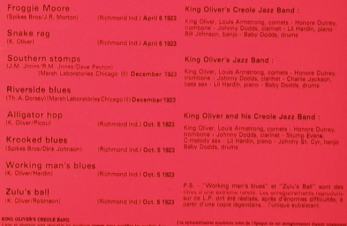 King Oliver's Creole Jazz Band: 1923 feat.L.Armstrong, Pierre Cardin(93508), F, 1973 - LP - H6308 - 6,00 Euro