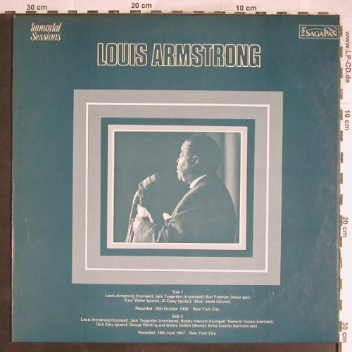 Armstrong,Louis: Immortal Sessions Vol.1, vg+/vg+, SagaPan(PAN 6901), UK, 1971 - LP - H6669 - 3,00 Euro