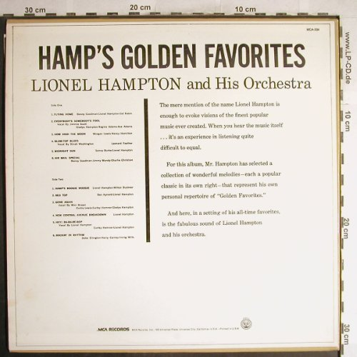 Hampton,Lionel & Orch.: Hamp's Golden Favorites, MCA(MCA-204), US,  - LP - H6791 - 9,00 Euro