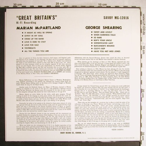 McPartland,Marian / George Shearing: Great Britain's, Savoy(MG-12016), J, 1993 - LP - H6932 - 7,50 Euro