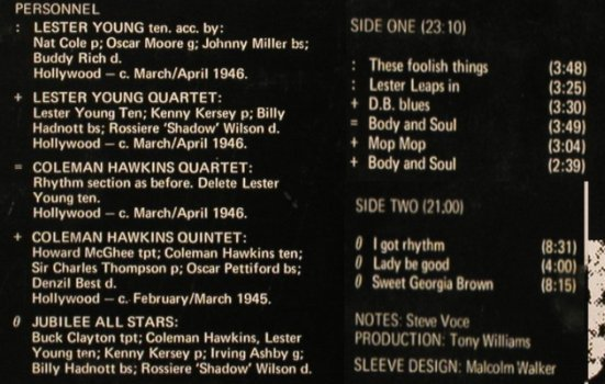 Hawkins,Coleman & Lester Young: Same, Spotlite Records(SPJ 119), UK,  - LP - H7049 - 7,50 Euro